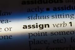 Assign. Word in a dictionary.  concept royalty free stock photo