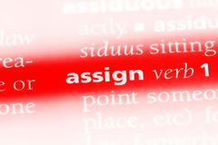 Assign. Word in a dictionary.  concept stock photos