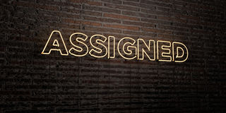 ASSIGNED -Realistic Neon Sign on Brick Wall background - 3D rendered royalty free stock image Royalty Free Stock Photos
