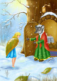 The mouse rescues Thumbelina in the winter from cold. Winter  nature Royalty Free Stock Photo