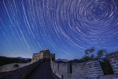 For assignment files. The stars full of the sky over Great Wall were shining brightly,when I climbed up the mountains near Beijing royalty free stock photos
