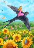 Swallow rescues Thumbelina. Summer  nature.  sunflower Royalty Free Stock Photo