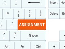 Assignment orange keyboard button. Assignment isolated on orange keyboard button abstract illustration Stock Photography