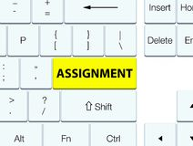 Assignment yellow keyboard button. Assignment isolated on yellow keyboard button abstract illustration Royalty Free Stock Image