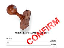 Assignment of lease - confirm Stock Images