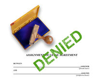 Assignment of lease - denied Royalty Free Stock Photo