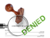 Assignment of lease - denied Stock Photography