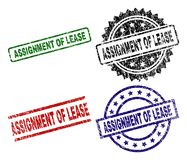 Grunge Textured ASSIGNMENT OF LEASE Seal Stamps. ASSIGNMENT OF LEASE seal prints with damaged texture. Black, green,red,blue vector rubber prints of ASSIGNMENT vector illustration