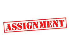 ASSIGNMENT. Red Rubber Stamp over a white background Stock Photo