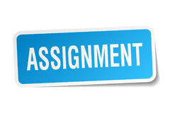 Assignment square sticker. On white Stock Photo