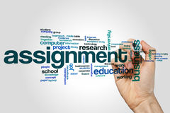 Assignment word cloud concept on grey background.  Royalty Free Stock Image