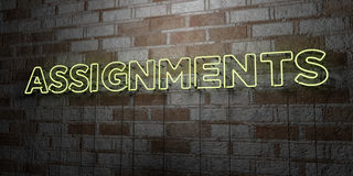 ASSIGNMENTS - Glowing Neon Sign on stonework wall - 3D rendered royalty free stock illustration. Can be used for online banner ads and direct mailers Royalty Free Stock Photography