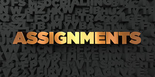 Assignments - Gold text on black background - 3D rendered royalty free stock picture. This image can be used for an online website banner ad or a print Royalty Free Stock Photo