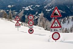 Assina dentro a neve Foto de Stock