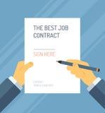 Assinando uma ilustração lisa do formulário do contrato ilustração do vetor