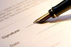 Assinatura da pena de fonte Foto de Stock