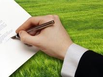 Assinatura do projeto de Bussiness imagens de stock