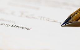 Assinatura dos diretores Imagem de Stock