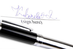 Assinatura e pena foto de stock royalty free