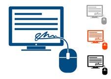 Assinatura eletrônica, ícone ilustração do vetor