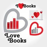 Assine com livros e corações sobre o amor para ler Imagens de Stock Royalty Free