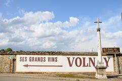 Assine a indicação da cidade de volnay em Borgonha france Imagem de Stock