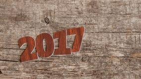 Assine o símbolo do número 2017 no estilo retro velho b de madeira do vintage Imagem de Stock Royalty Free
