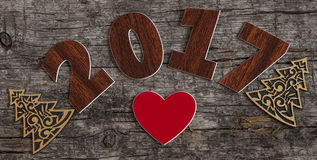Assine o símbolo do número 2017 no estilo retro velho b de madeira do vintage Fotografia de Stock