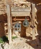 Assine para a entrada ao Siq de PETRA, do centro do visitante em Wadi Musa, Jordânia Foto de Stock Royalty Free