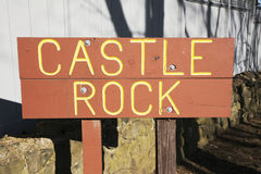 Assine para fortificar a rocha, Marblehead cênico, Massachusetts, EUA Imagens de Stock