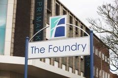 Assine para o o centro de compra da fundi??o - Scunthorpe, Lincolnshire, Reino Unido - 23 de janeiro de 2018 imagens de stock