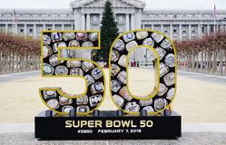 Assine para o Super Bowl 50 2016 do NFL a ser realizados no San Francisco Bay Area Fotos de Stock