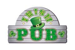 Assine para um bar irlandês com um chapéu do ` s do duende ilustração royalty free