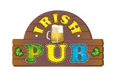 Assine para um bar irlandês com uma caneca de cerveja ilustração stock