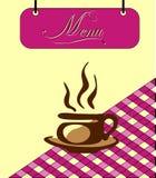 Assine a pilha do menu de Borgonha com um copo do chá. Vetor ilustração do vetor