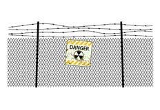 Assine a radiação no aço que cerca com um arame farpado ilustração royalty free