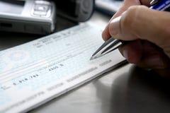 Assine uma verificação de banco Fotos de Stock