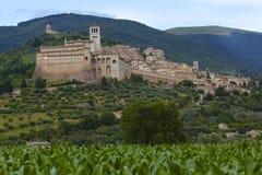 Assisi,意大利地平线,西部看法 免版税图库摄影
