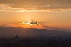Assisi και ηλιοβασίλεμα Στοκ φωτογραφία με δικαίωμα ελεύθερης χρήσης