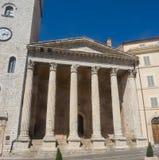 Assisi, Италия, всемирное наследие ЮНЕСКО Висок Minerva размещал в центре города Стоковые Фото