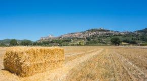 Assisi, один из самого красивого маленького города в Италии Горизонт деревни от земли Стоковое фото RF