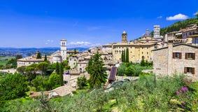 Assisi - средневековый исторический город в Умбрии, Италия стоковые изображения rf