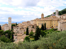 Assisi. Panoramic view of the historic Italian hill town Assisi stock photo
