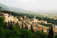 Assisi from above. The famous religious village of Assisi in Italy royalty free stock image