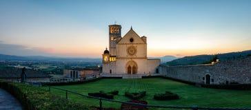 Assisi Basilica di San Francesco (alta definizione panoramica) Immagine Stock Libera da Diritti