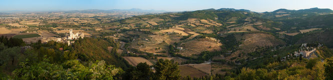 Assisi and umbrian landscape panorama, Italy Royalty Free Stock Images