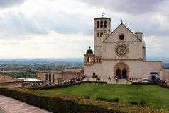 Assisi Cathedral in Italy. With people Stock Images
