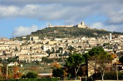 Assisi city , Italy. Panorama of Assisi, Italy , a town and comune of Italy in the province of Perugia in the Umbria region, on the western flank of Monte stock images