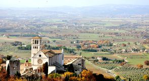 Assisi city , Italy. Panorama of Assisi, Italy , a town and comune of Italy in the province of Perugia in the Umbria region, on the western flank of Monte royalty free stock photos