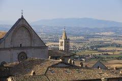Assisi dachy i kominy, Umbria Fotografia Stock